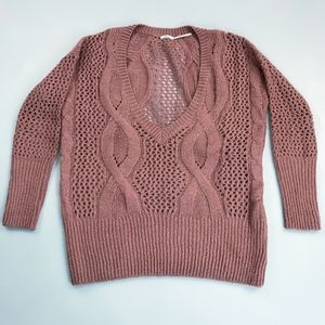 KIMCHI & BLUE Dusty Rose Cable Knit Sweater